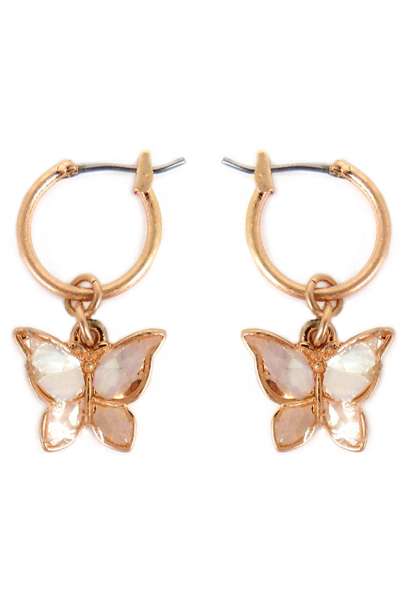 Goldtone and Mother of Pearl Petite Butterfly Hoop Earrings