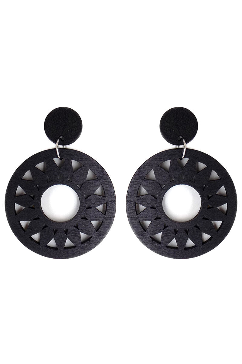 Black Sun Filigree Wood Earrings
