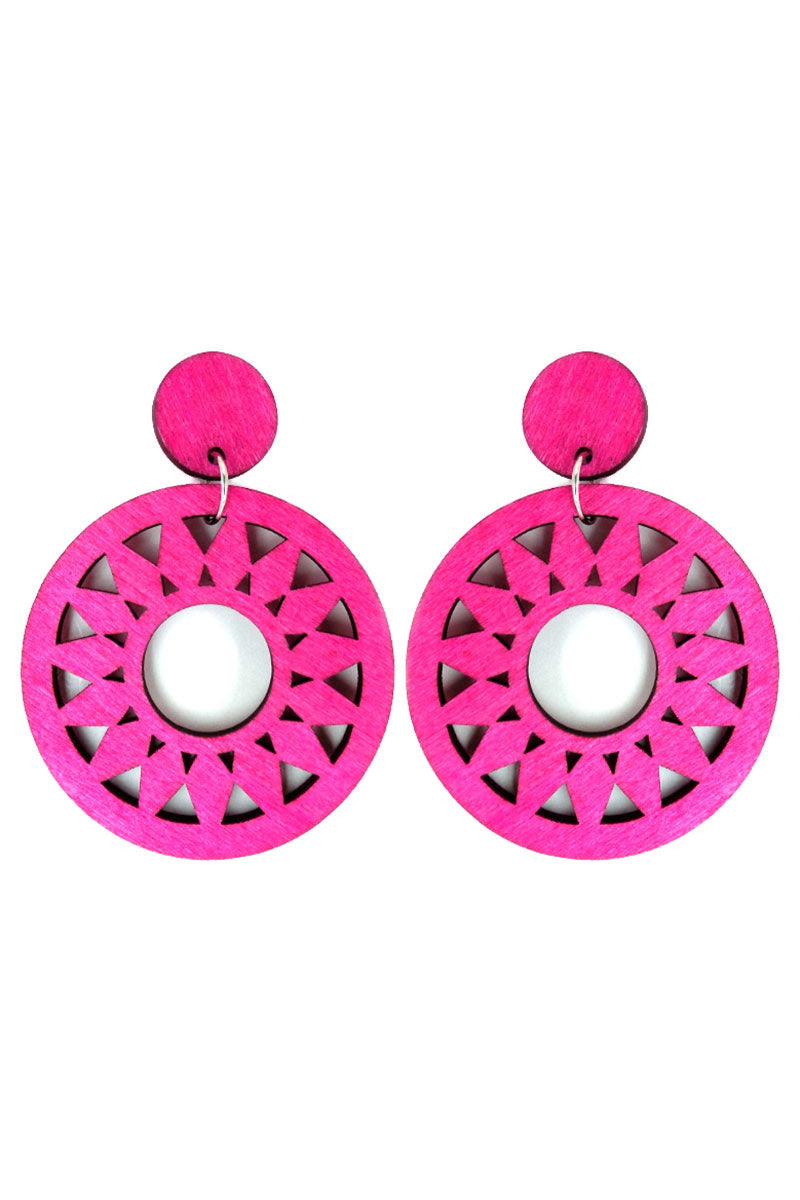 Fuchsia Sun Filigree Wood Earrings