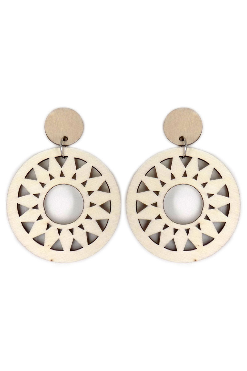 Beige Sun Filigree Wood Earrings