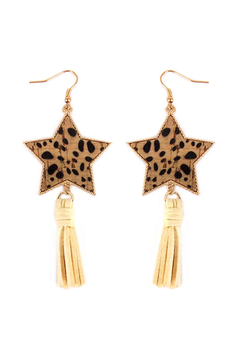 Cheetah Cork Star and Ivory Tassel Earrings