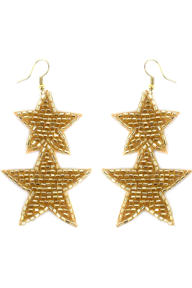 Gold Tube Seed Bead Double Star Earrings