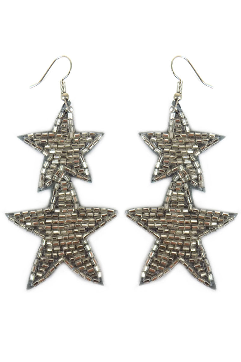 Silver Tube Seed Bead Double Star Earrings