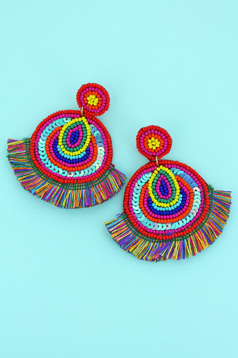 Sunset Seed Bead and Sequin Disk Fringe Earrings