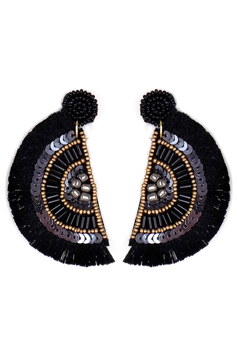 Black Embellished Seed Bead Fringed Half Moon Earrings