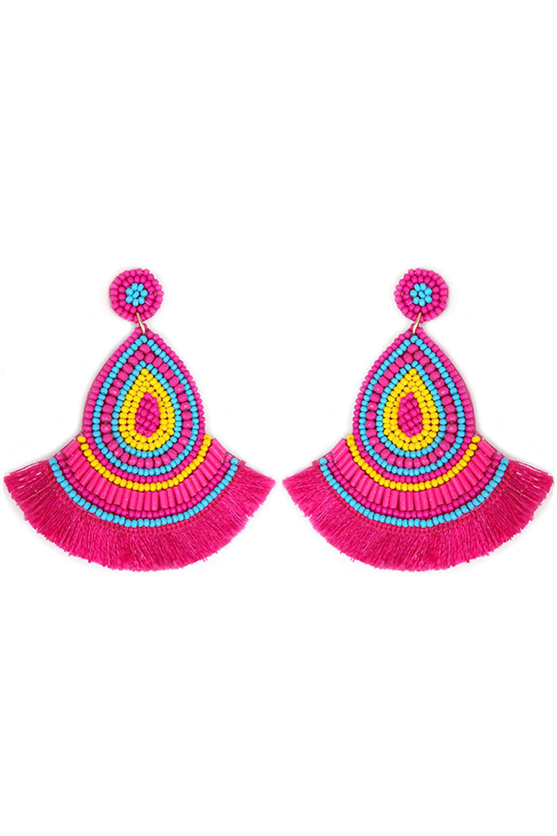 Fuchsia Multi-Color Seed Bead Teardrop Fringe Earrings