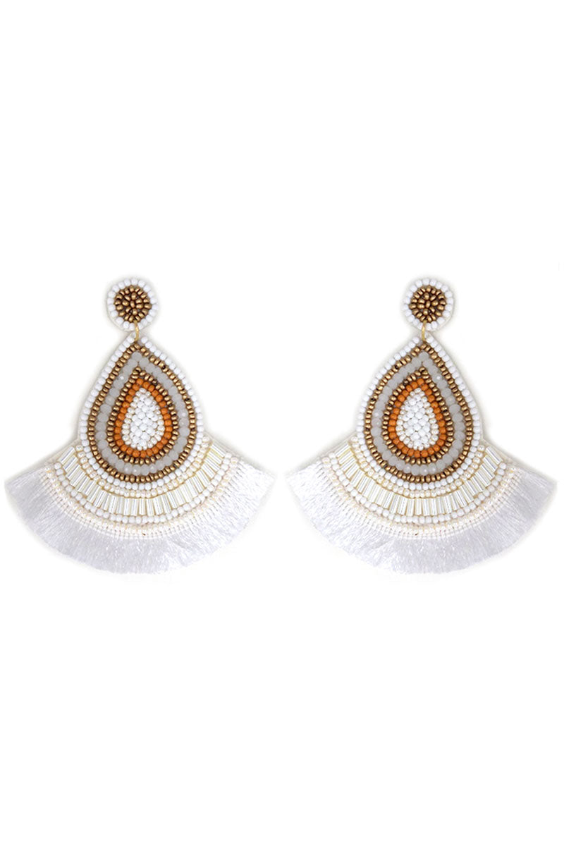 White Multi-Color Seed Bead Teardrop Fringe Earrings