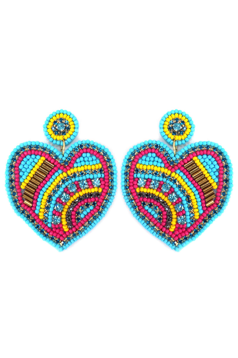 Turquoise Bejeweled Seed Bead Heart Earrings