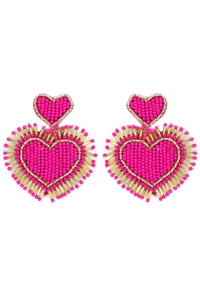 Fuchsia and Gold Seed Bead Fringed Heart Earrings