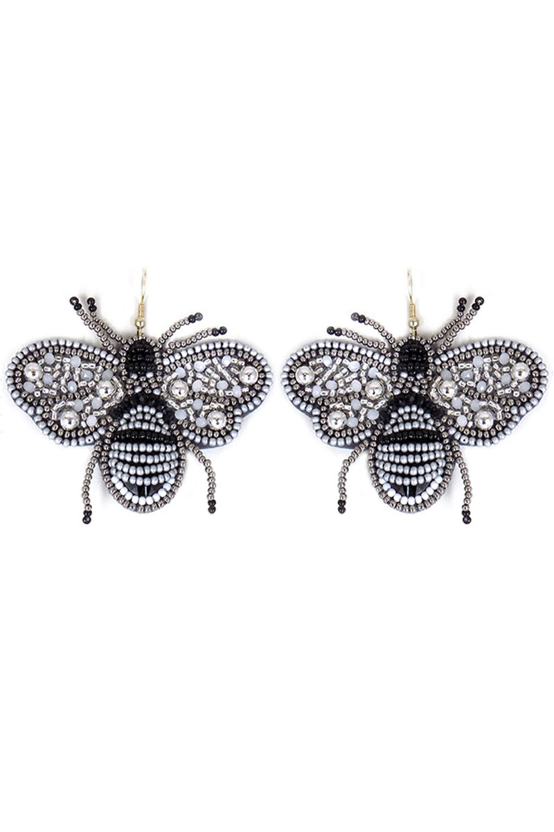 Silver and Black Seed Bead Bee Earrings