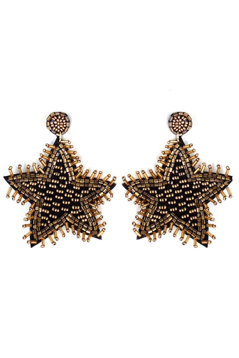 Black and Gold Seed Bead Fringed Star Earrings