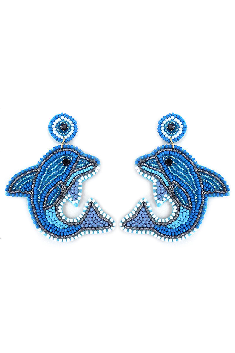 Multi Blue Embellished Seed Bead Dolphin Earrings