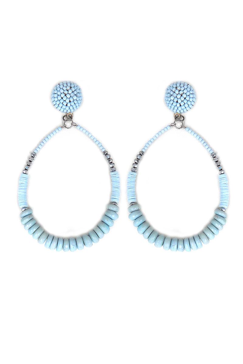 Gray Shadow Candy Bead Hoop Earrings