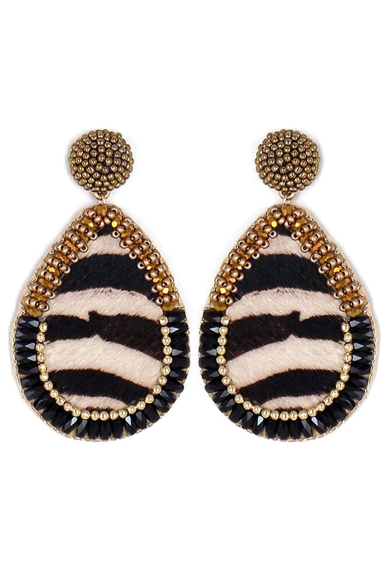 Bejeweled Faux Zebra Teardrop Earrings