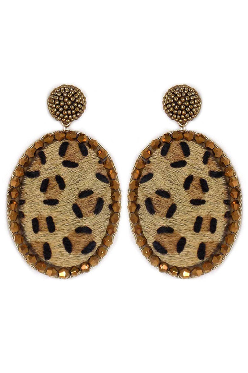 Bejeweled Faux Leopard Oval Earrings