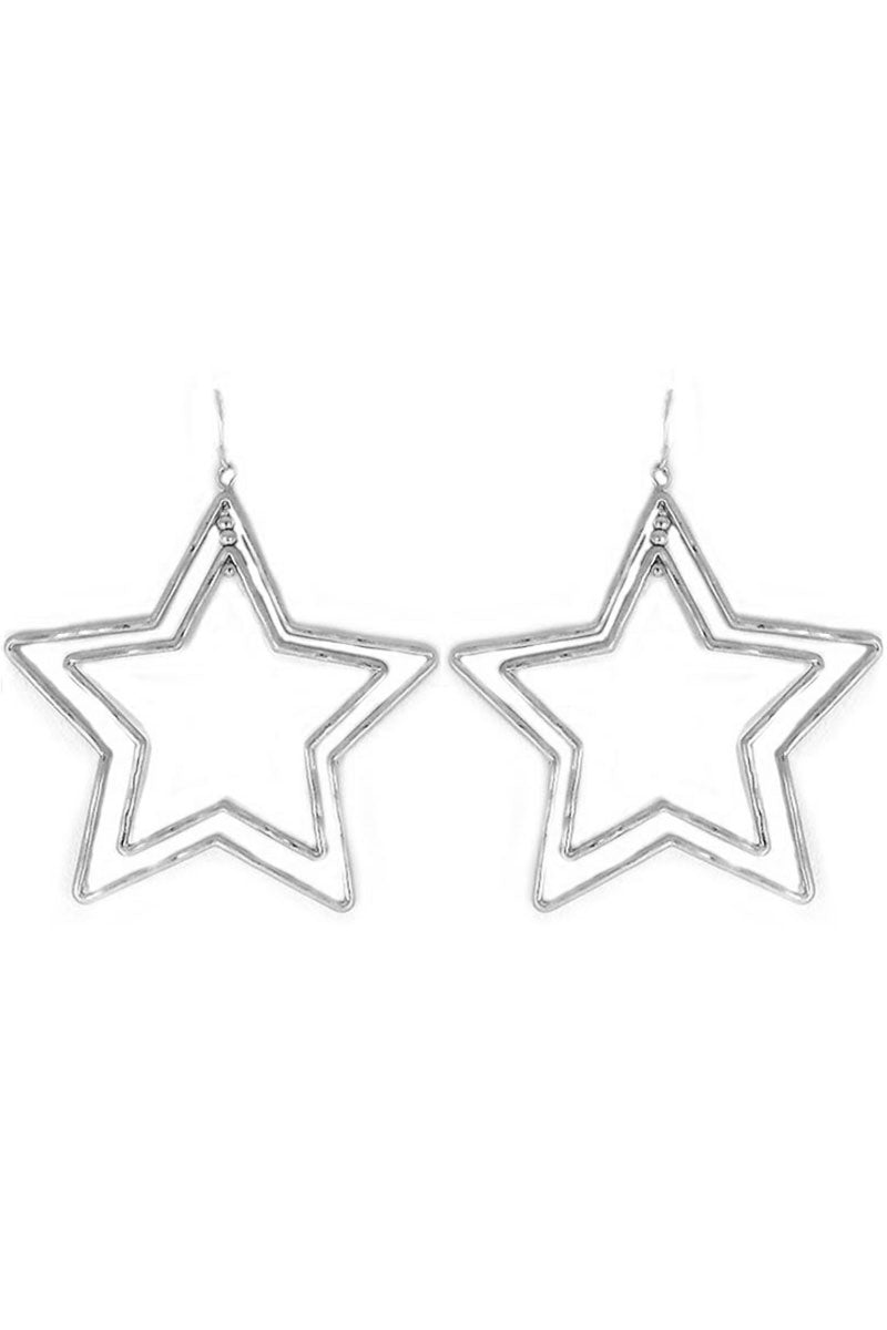 Worn Silvertone Double Star Earrings