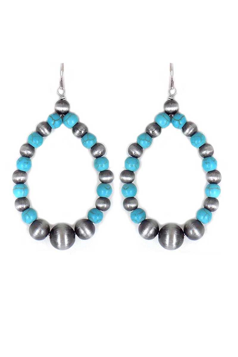 Turquoise Shiprock Silver Pearl Teardrop Earrings