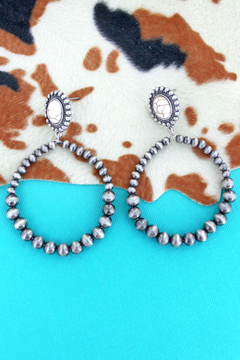 Ivory Stone Concho and Silver Navajo Pearl Hoop Earrings