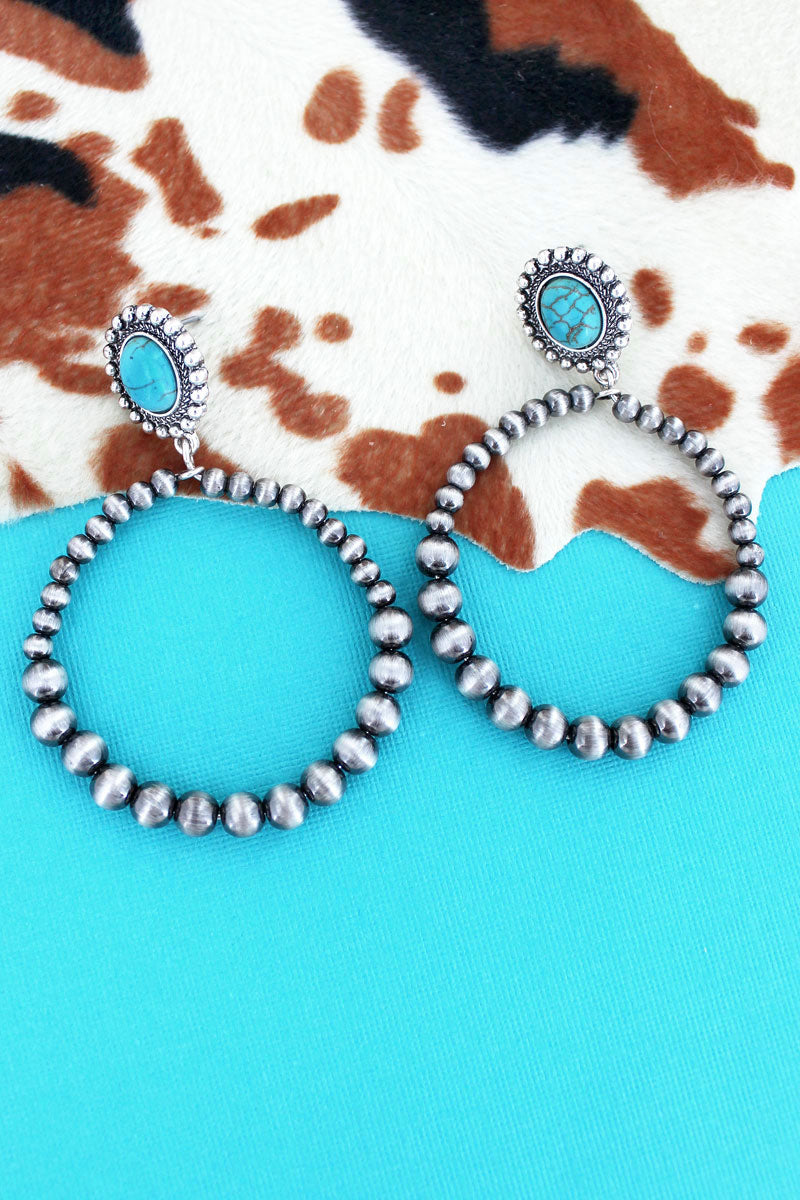 Turquoise Stone Concho and Silver Navajo Pearl Hoop Earrings