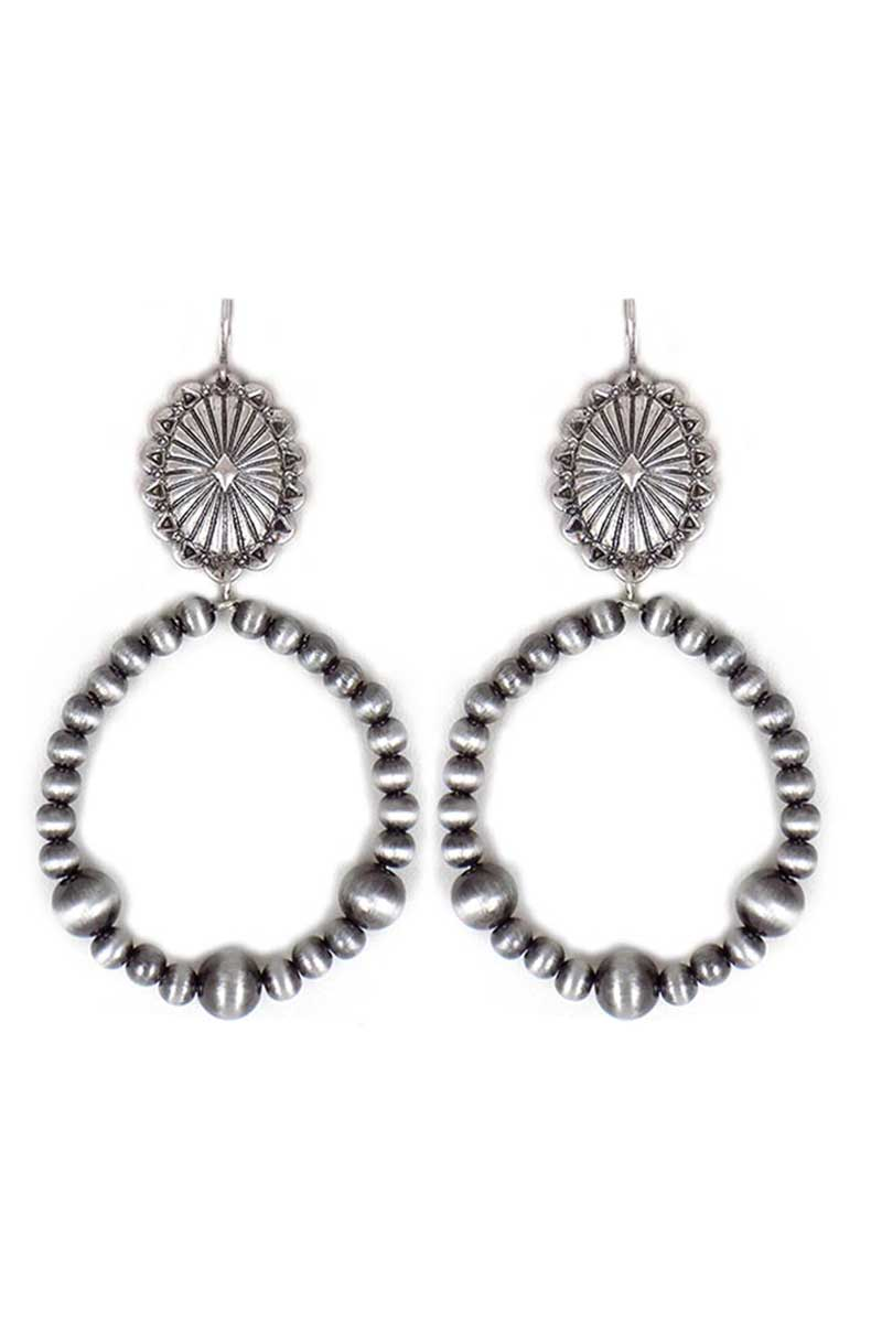 Cameron Concho and Silver Pearl Hoop Earrings