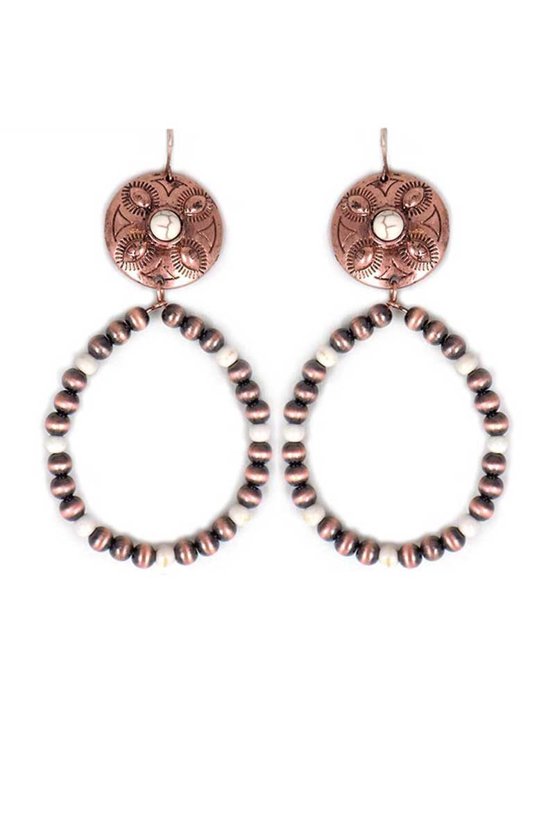 Copper Navajo Inspired Pearl and Ivory Bead Concho Hoop Earrings