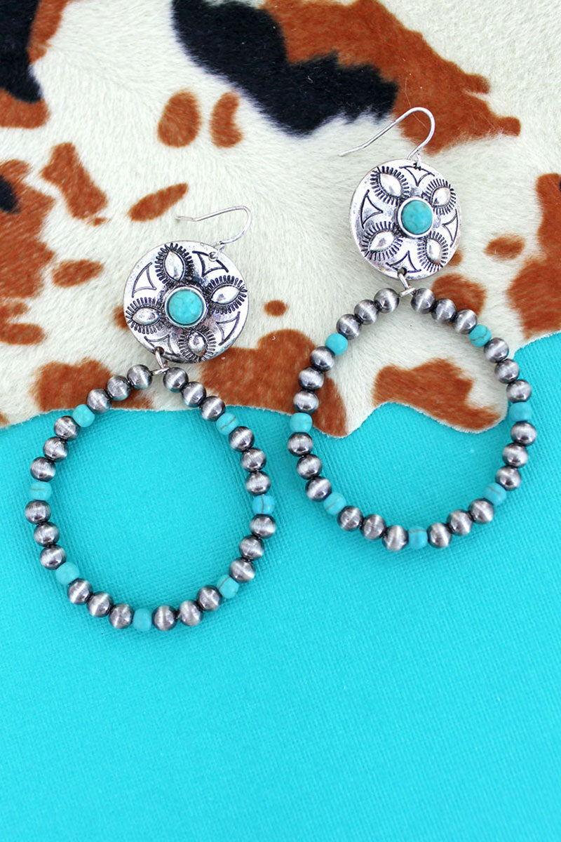 Silver Navajo Pearl and Turquoise Bead Concho Hoop Earrings