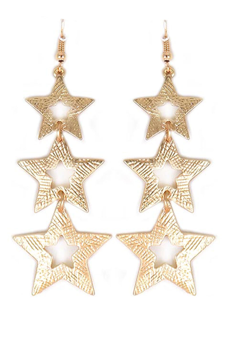 Scratched Matte Goldtone Star Trio Earrings