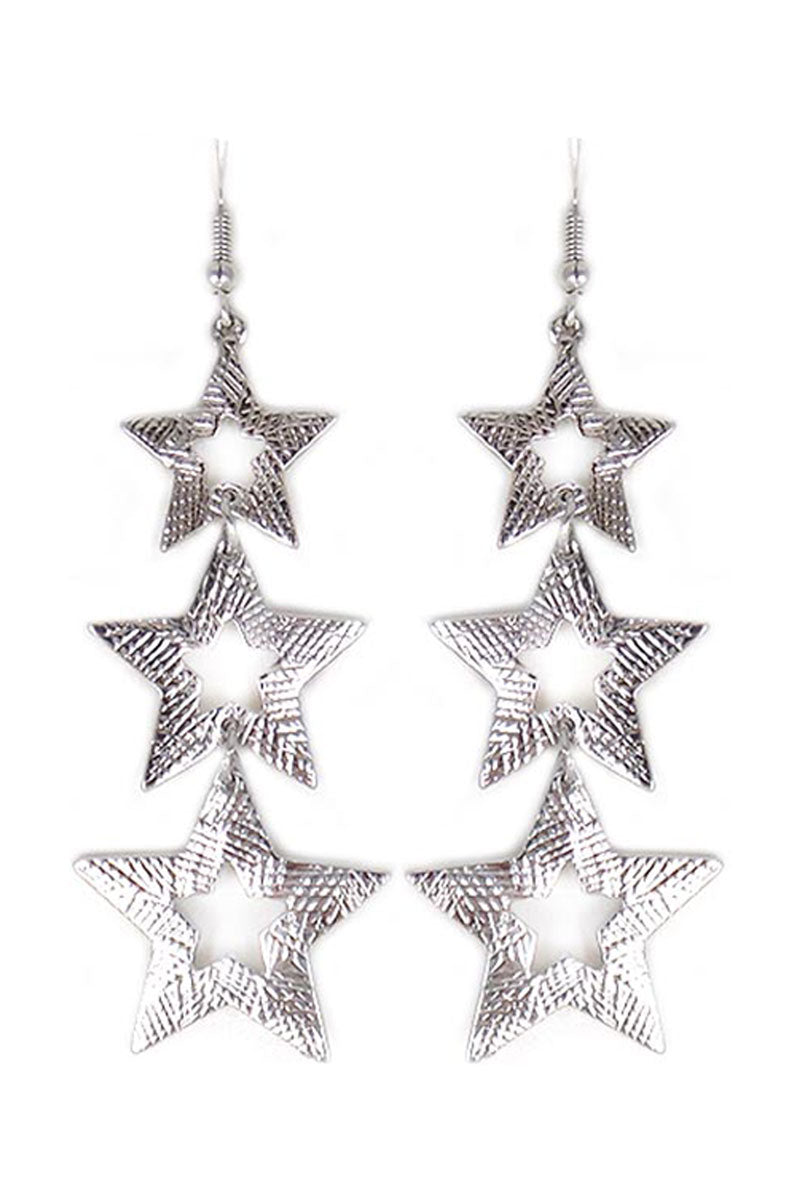 Scratched Silvertone Star Trio Earrings