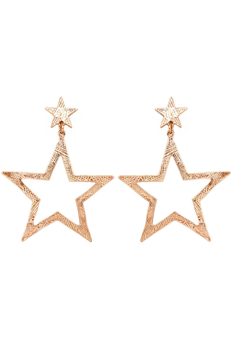Matte Goldtone Scratched Star Earrings