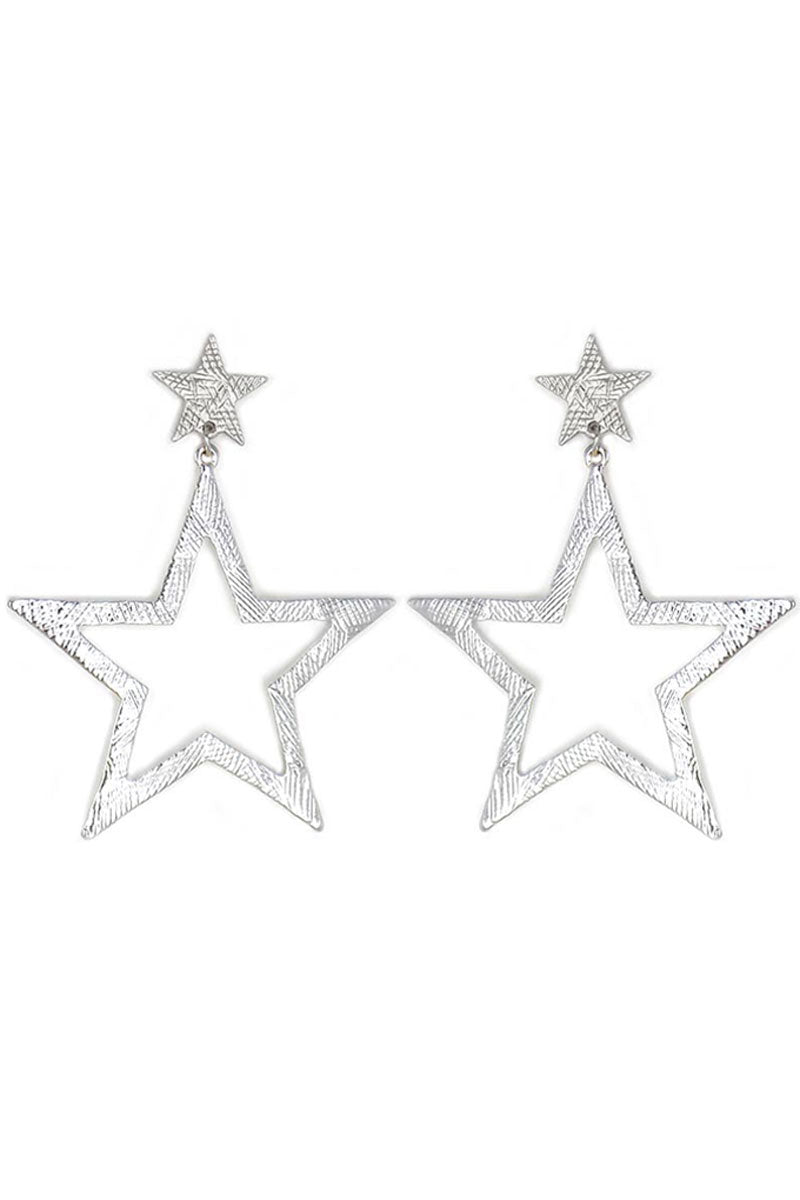 Silvertone Scratched Star Earrings
