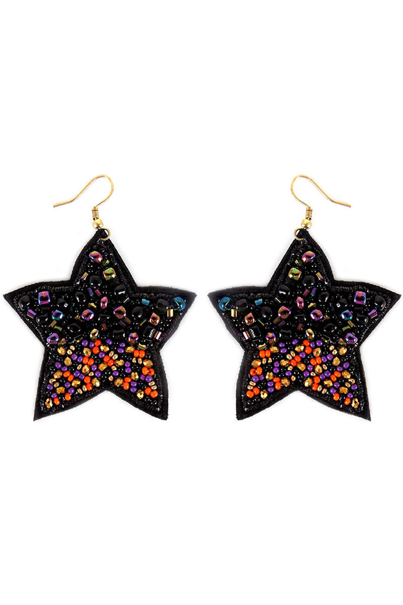 Black Multi-Color Bead Halloween Star Earrings
