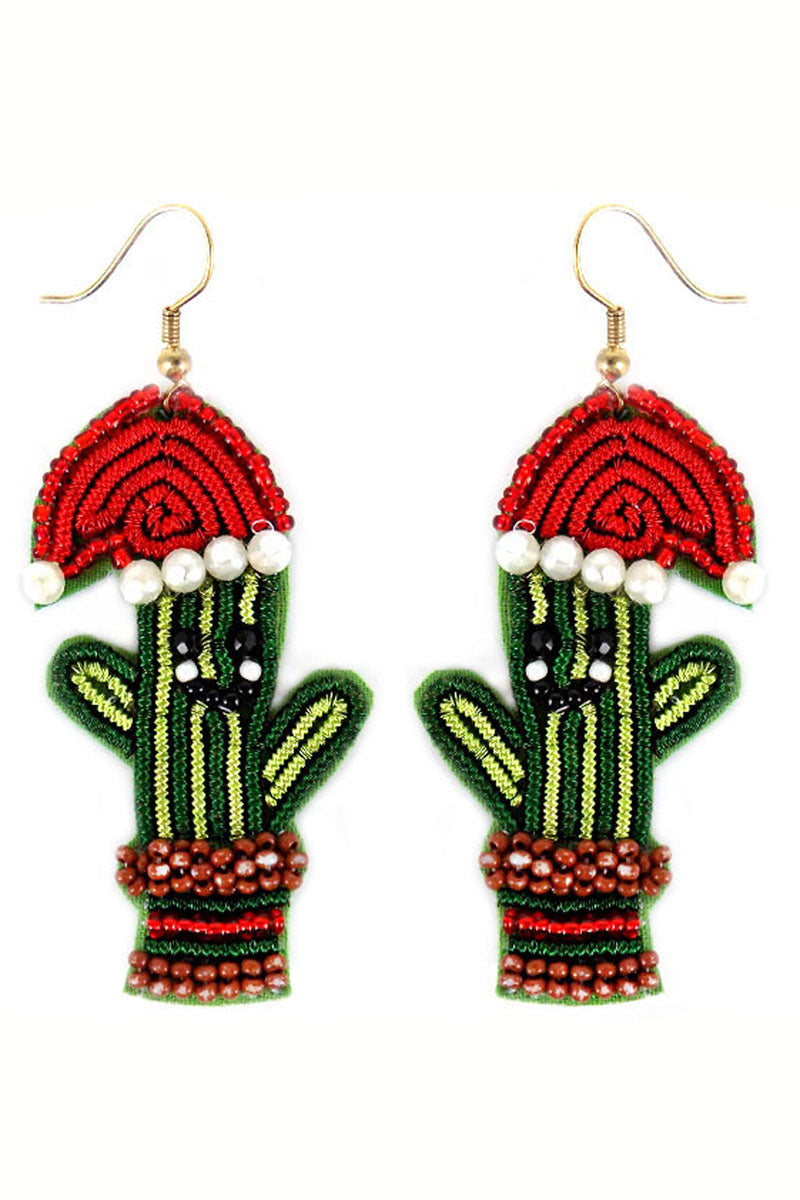 Santa Cactus Beaded Earrings