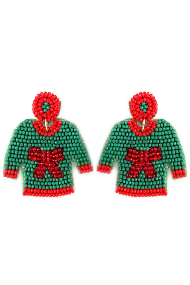 Green with Red Bow Ugly Christmas Sweater Earrings