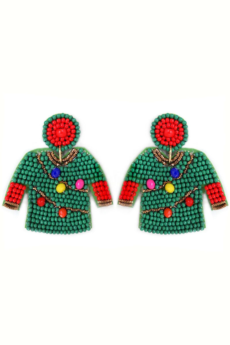 Green with Christmas Lights Ugly Sweater Earrings