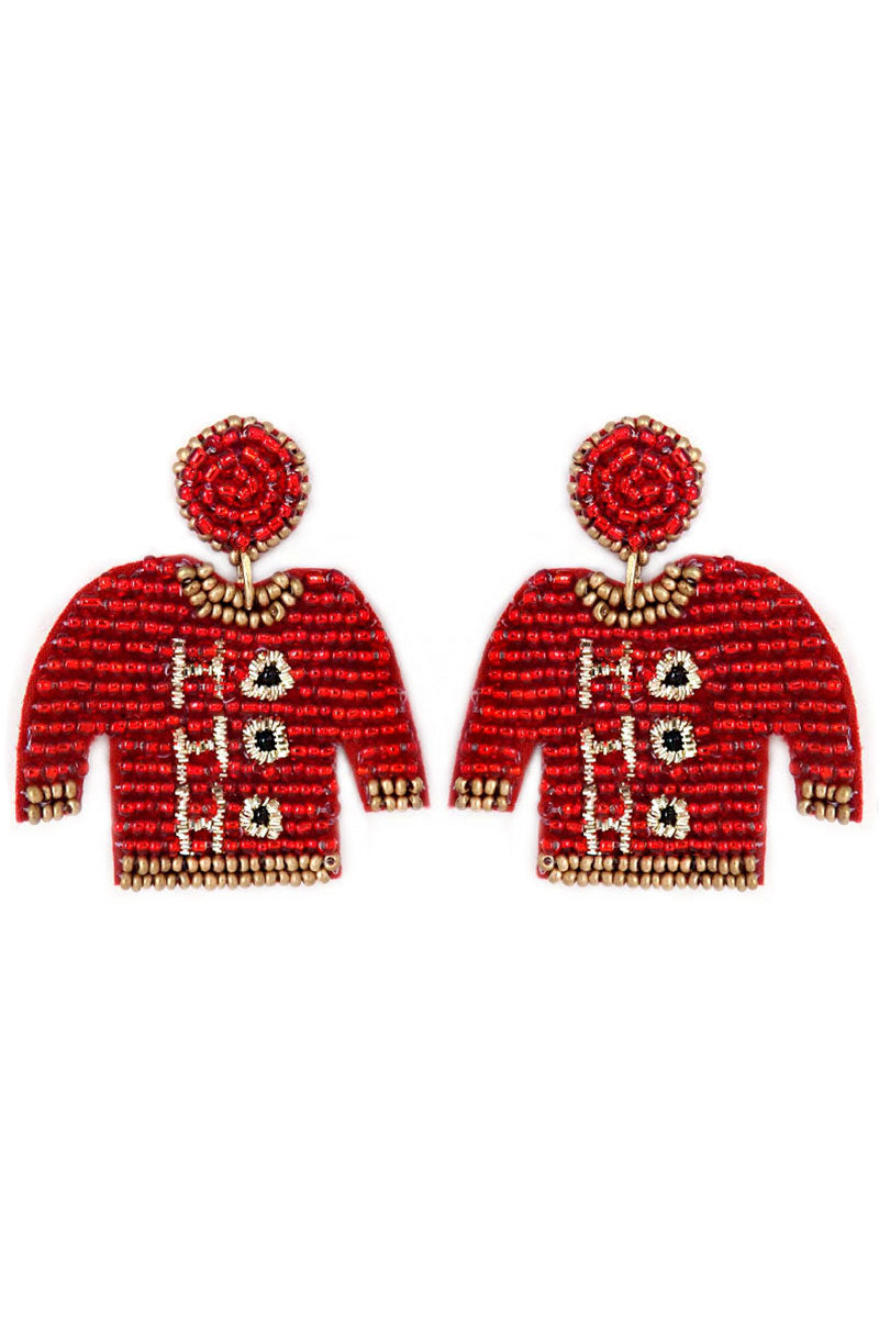 Red and Gold 'Ho Ho Ho' Ugly Christmas Sweater Earrings