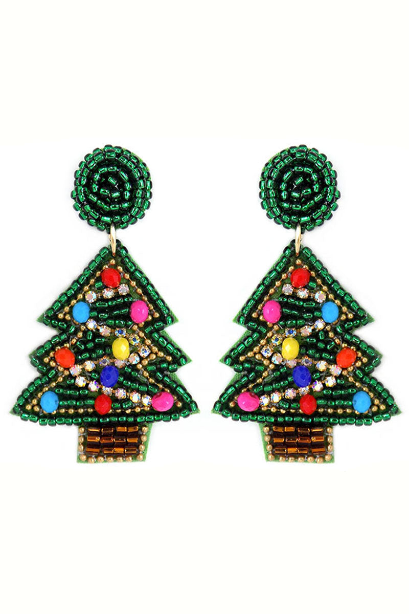 Christmas Tree Crystal and Seed Bead Earrings