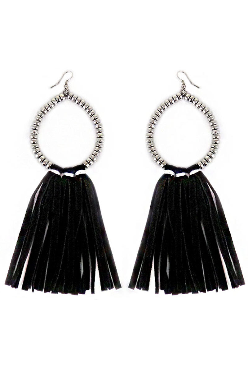 Silvertone Beaded Loop and Black Faux Suede Tassel Earrings