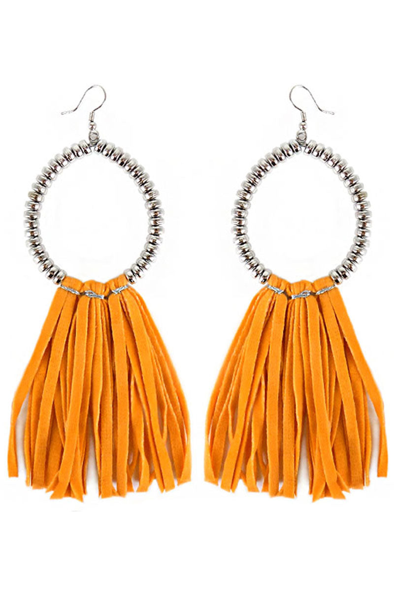 Silvertone Beaded Loop and Orange Faux Suede Tassel Earrings