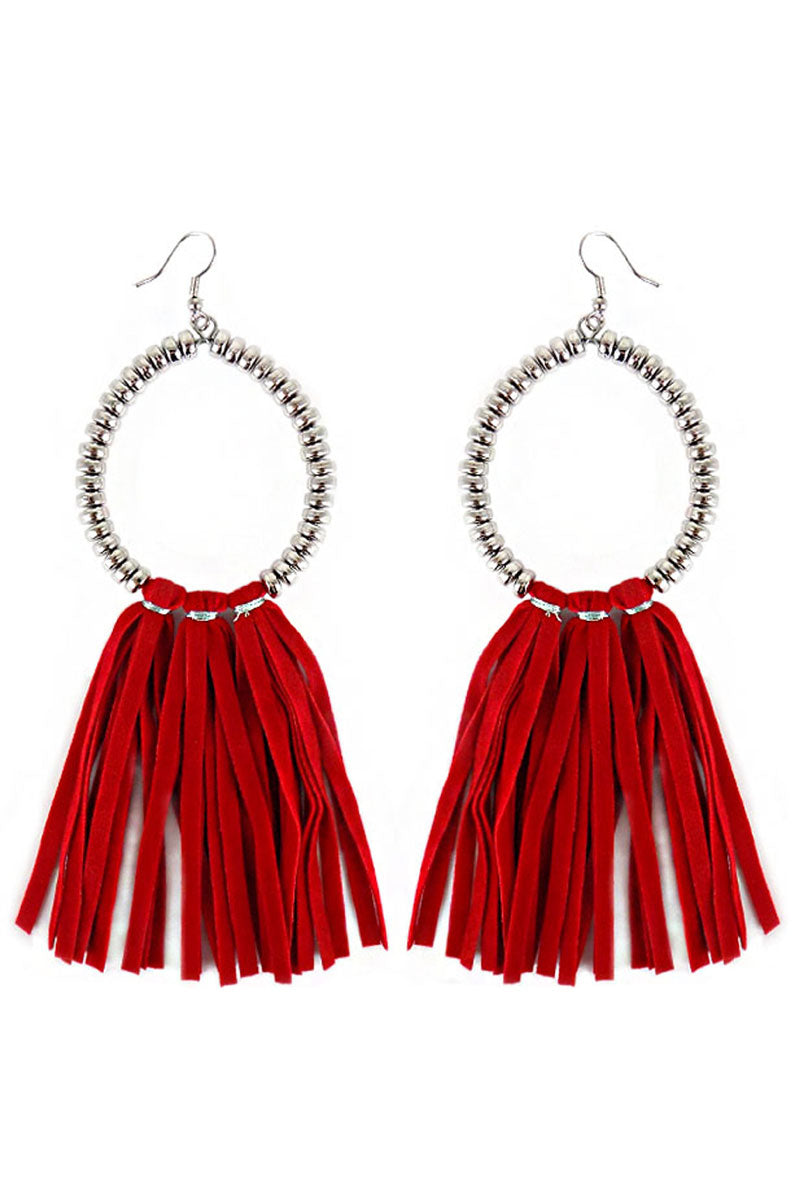 Silvertone Beaded Loop and Red Faux Suede Tassel Earrings