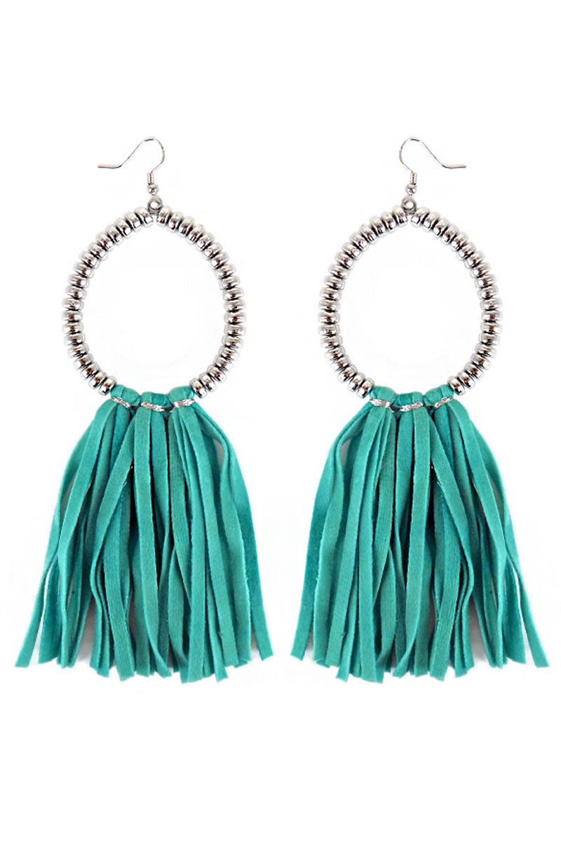 Silvertone Beaded Loop and Turquoise Faux Suede Tassel Earrings