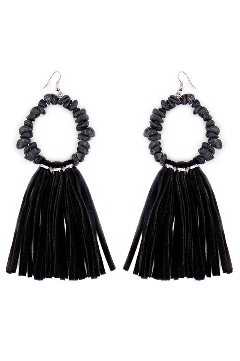 Black Chip Stone Loop and Faux Suede Tassel Earrings
