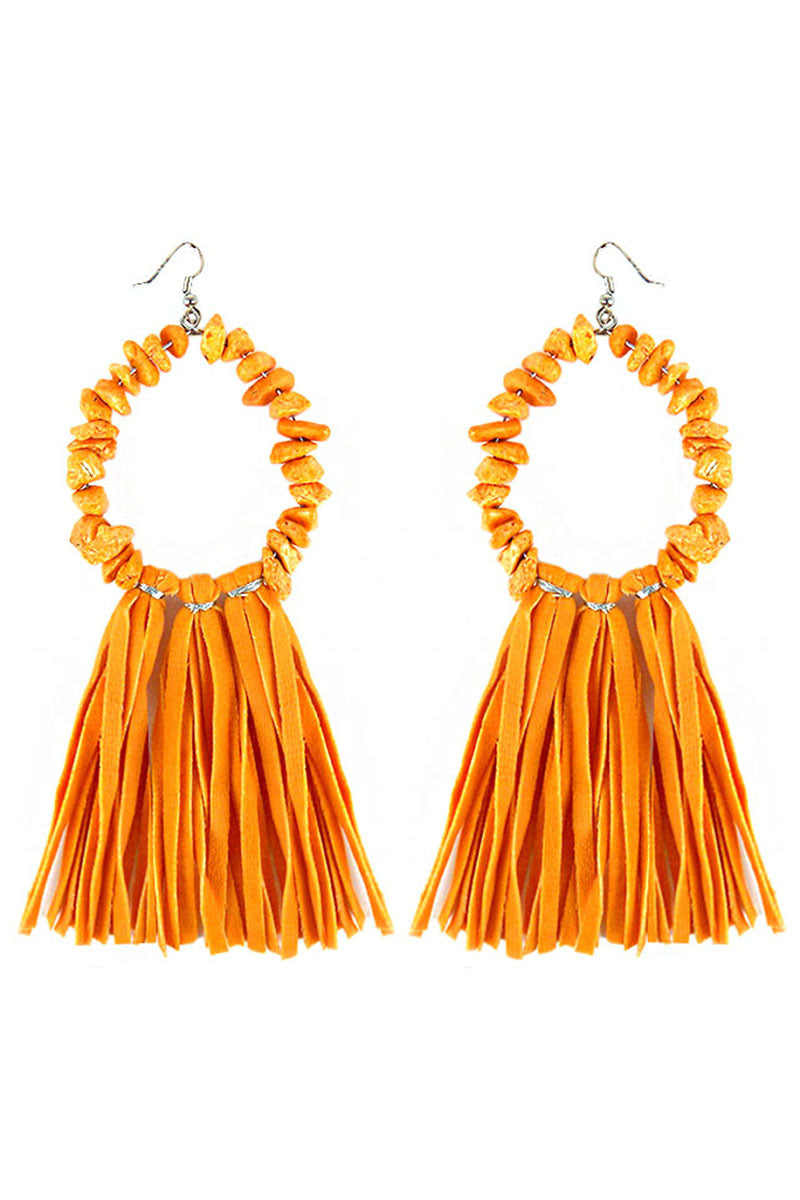 Orange Chip Stone Loop and Faux Suede Tassel Earrings