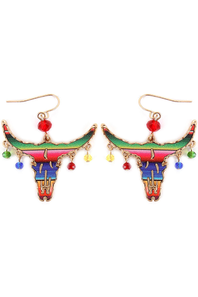 Serape Steer with Dangling Beads Earrings