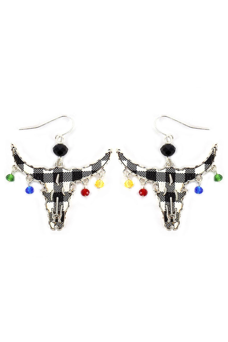 Black Buffalo Plaid Steer with Dangling Beads Earrings