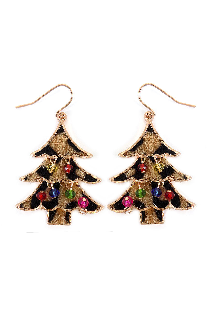 Leopard Christmas Tree with Dangling Beads Earrings
