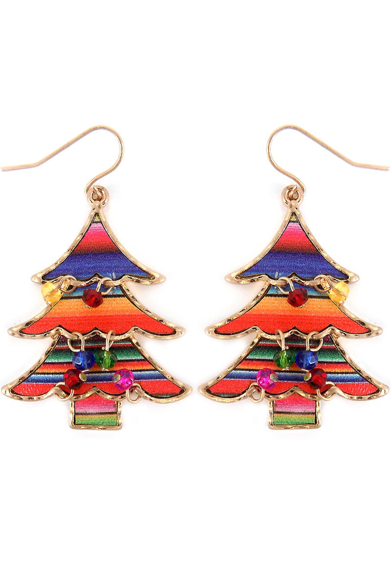 Serape Christmas Tree with Dangling Beads Earrings