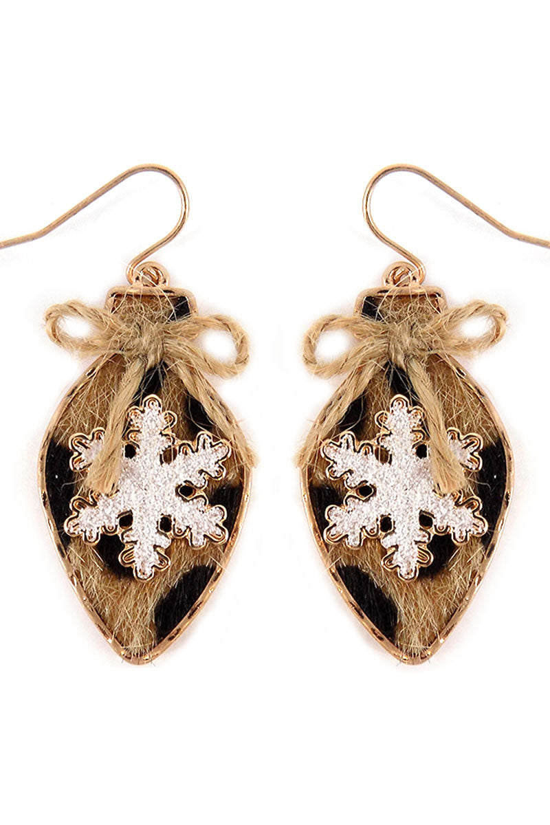 Leopard Snowflake Christmas Light Earrings