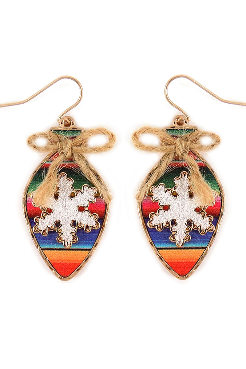 Serape Snowflake Christmas Light Earrings
