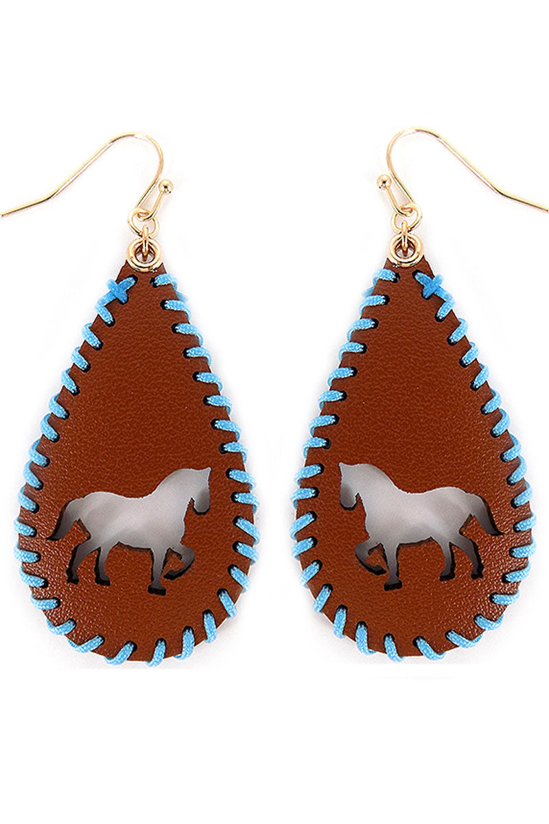 Cut-Out Horse Whipstitch Brown Teardrop Earrings