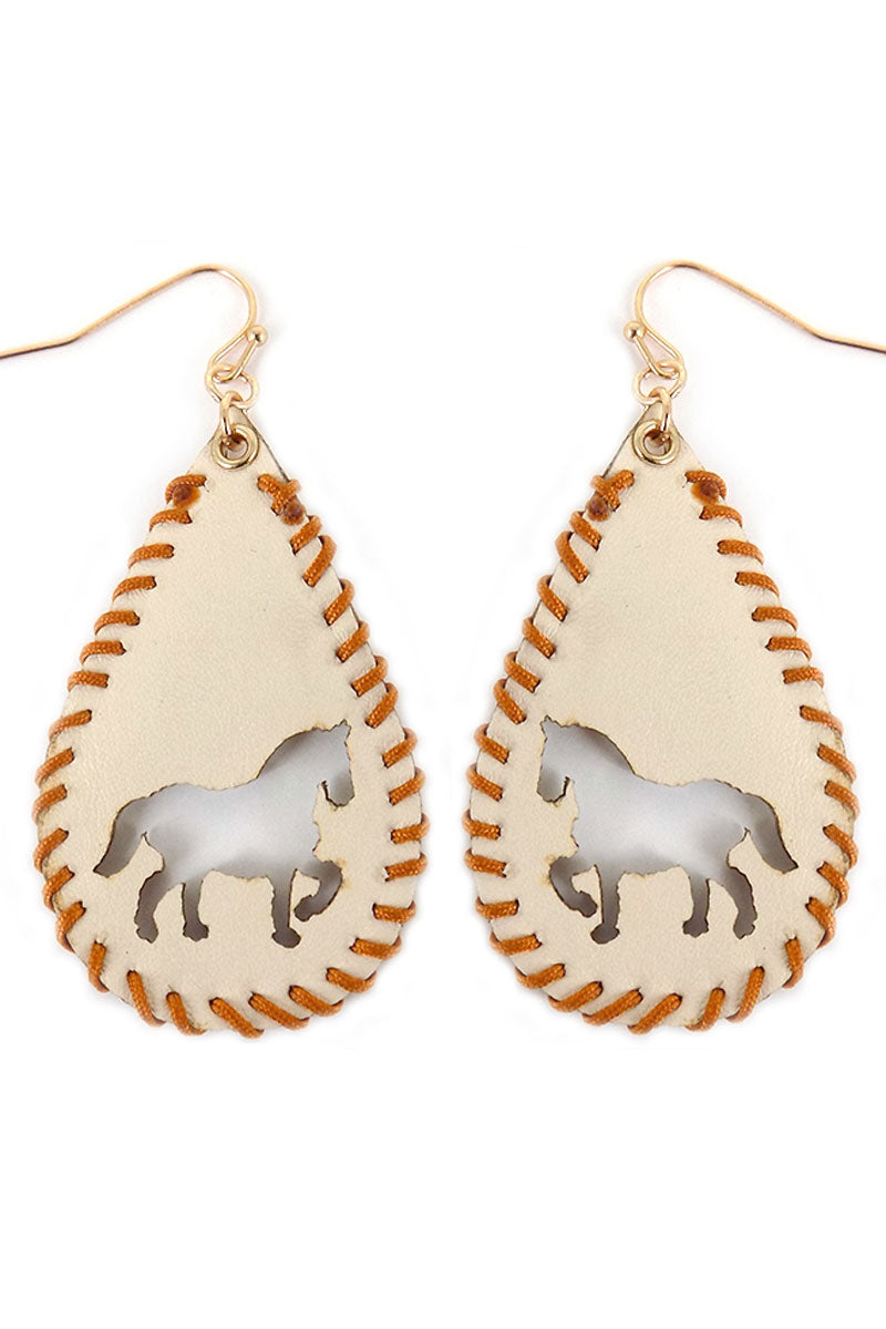 Cut-Out Horse Whipstitch Ivory Teardrop Earrings